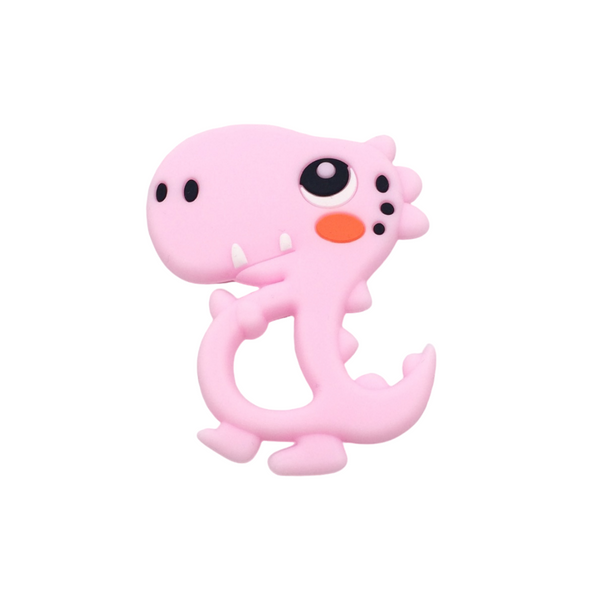 Silicone Dino Teether - Pink