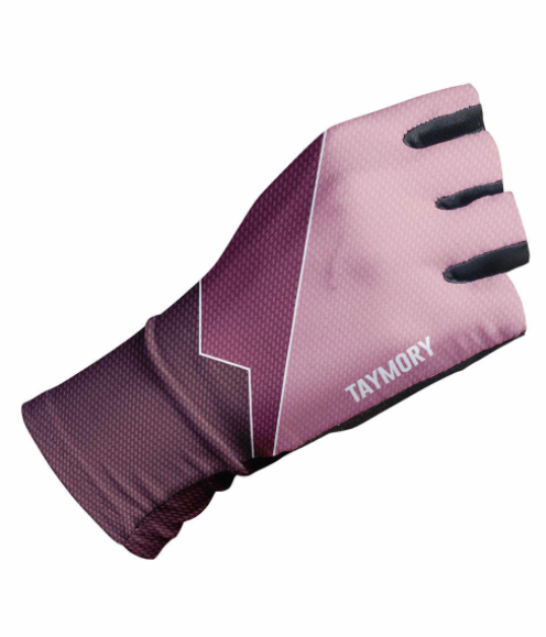 TAYMORY ANGLIRU PINK AND MAROON SHORT FINGERED GLOVES SIZE M - Sportopia Cycles