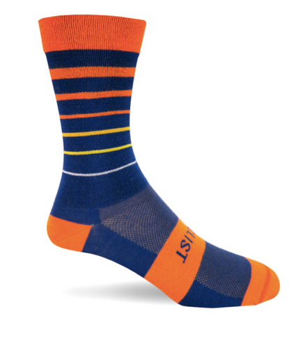 THE CYCLIST - BRIGHT ORANGE AND NAVY STRIPE SOCKS - Sportopia Cycles