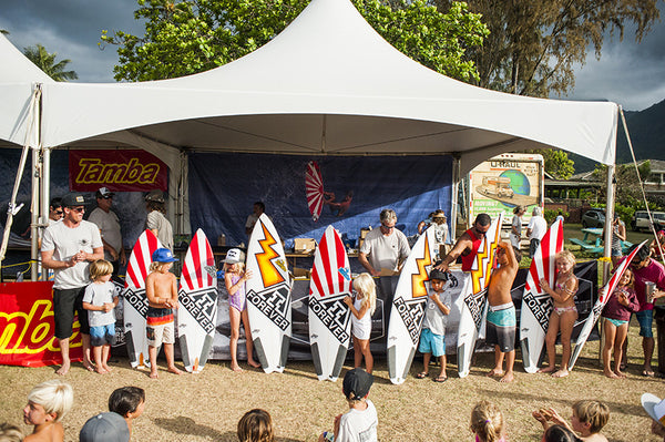 16th annual irons brother pine trees classic hanalei tamba surf company kauai surfboard giveaway