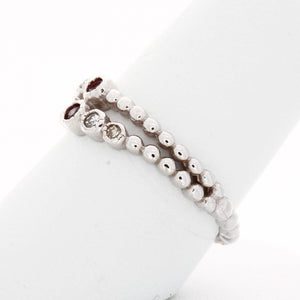 Modern Double Row Diamond Birthstone Ring