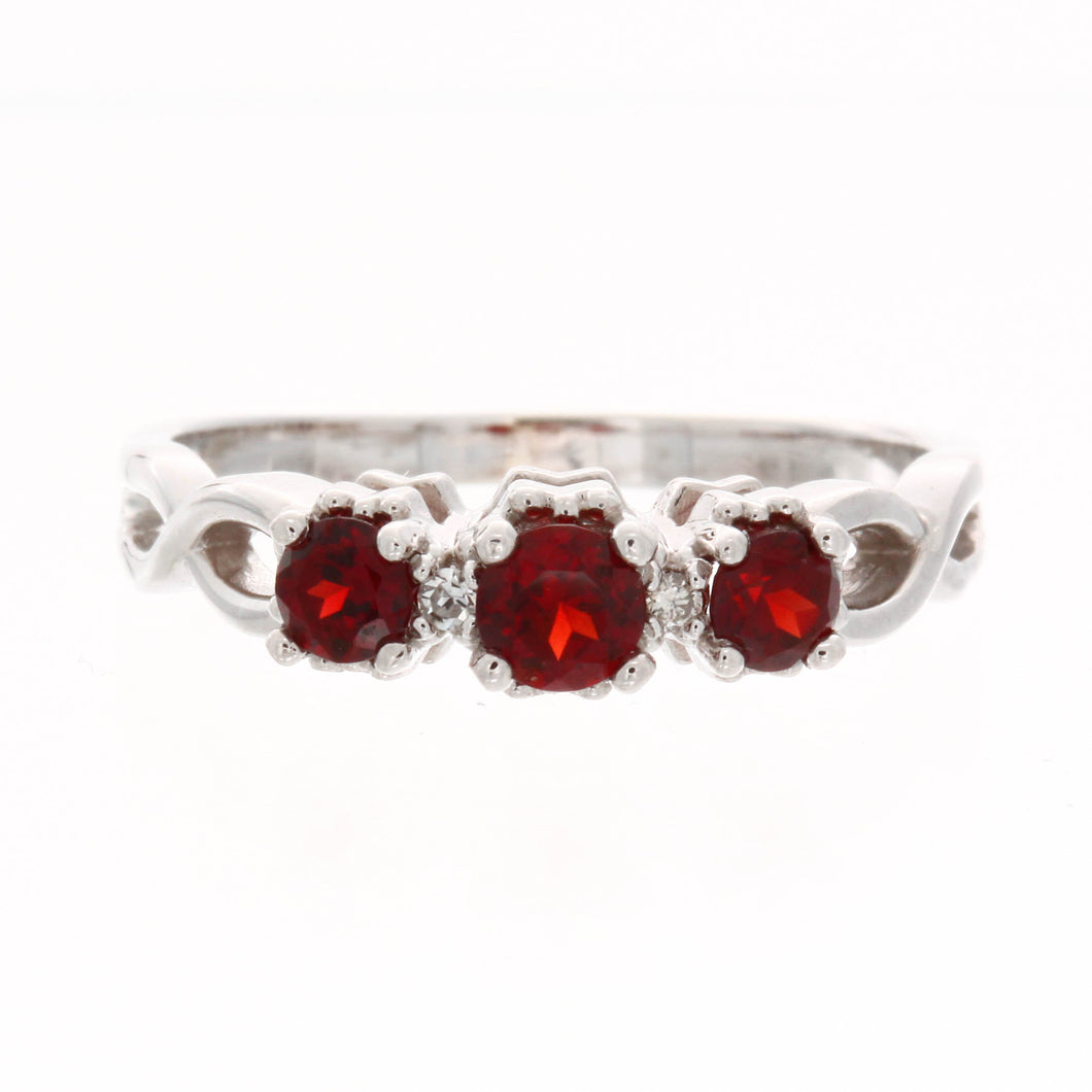 Three Stone Diamond Birthstone Ring