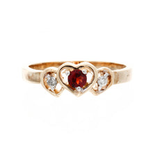 Load image into Gallery viewer, Triple Heart Diamond Birthstone Ring
