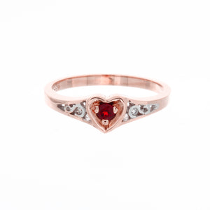 Heart Diamond Birthstone Ring