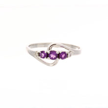 Load image into Gallery viewer, Triple Birthstone and Diamond Swirl Ring
