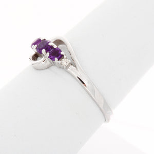 Triple Birthstone and Diamond Swirl Ring