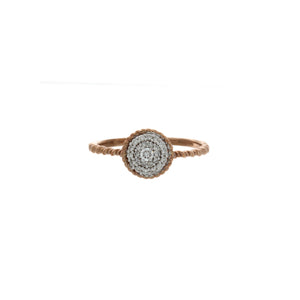 Diamond Two Tone Circle Cluster Ring