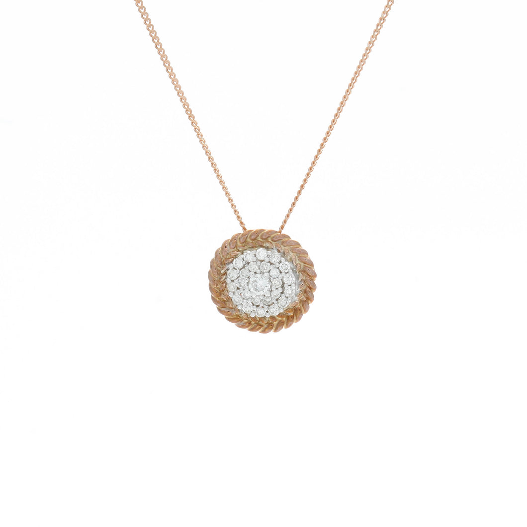 Diamond Two Tone Circle Cluster Pendant