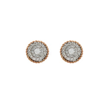 Load image into Gallery viewer, Diamond Two Tone Circle Cluster Earrings