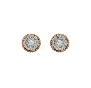 Diamond Two Tone Circle Cluster Earrings