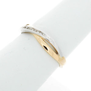 Diamond Two Tone Crossover Ring