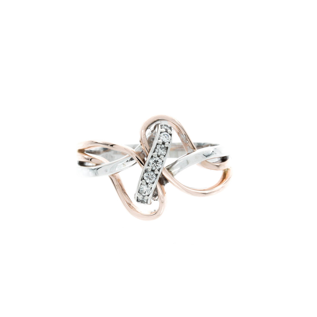 Diamond Two Tone Knotted Ring