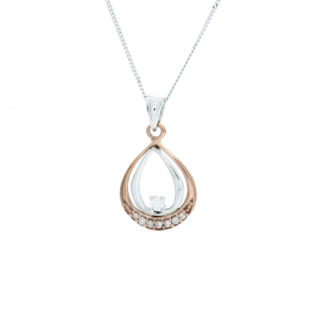 Diamond Two Tone Double Pear Shape Pendant