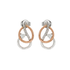 Diamond Two Tone Double Pear Shape Earrings