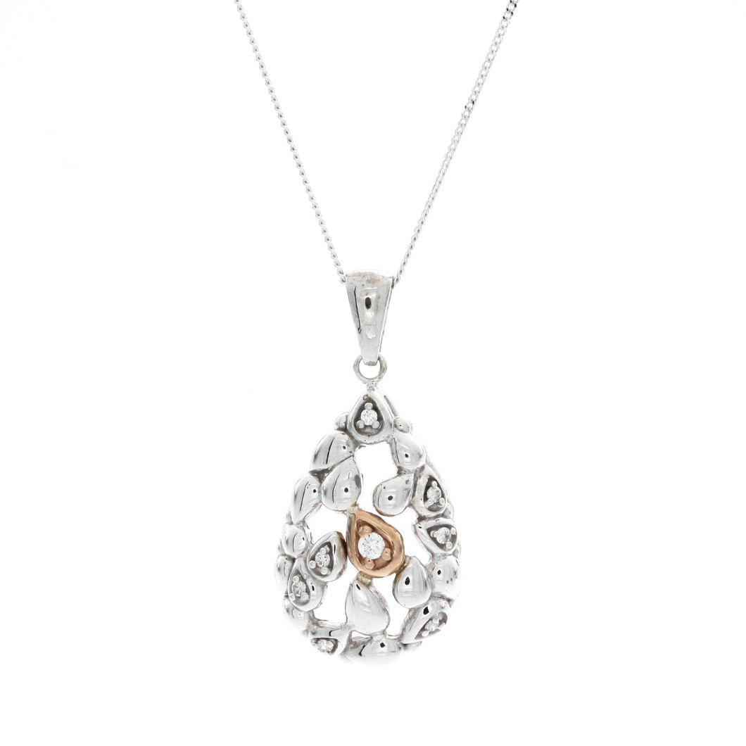 Diamond Two Tone Pear Shape Pendant
