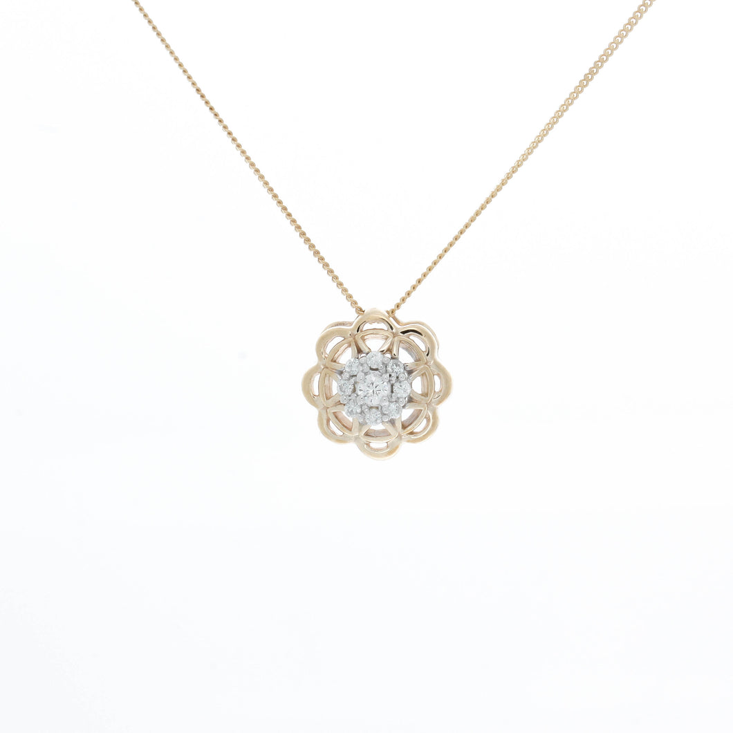 Diamond Two Tone Flower Shape Cluster Pendant
