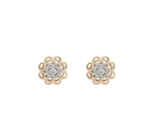 Load image into Gallery viewer, Diamond Two Tone Flower Shape Cluster Stud Earrings