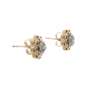 Diamond Two Tone Flower Shape Cluster Stud Earrings