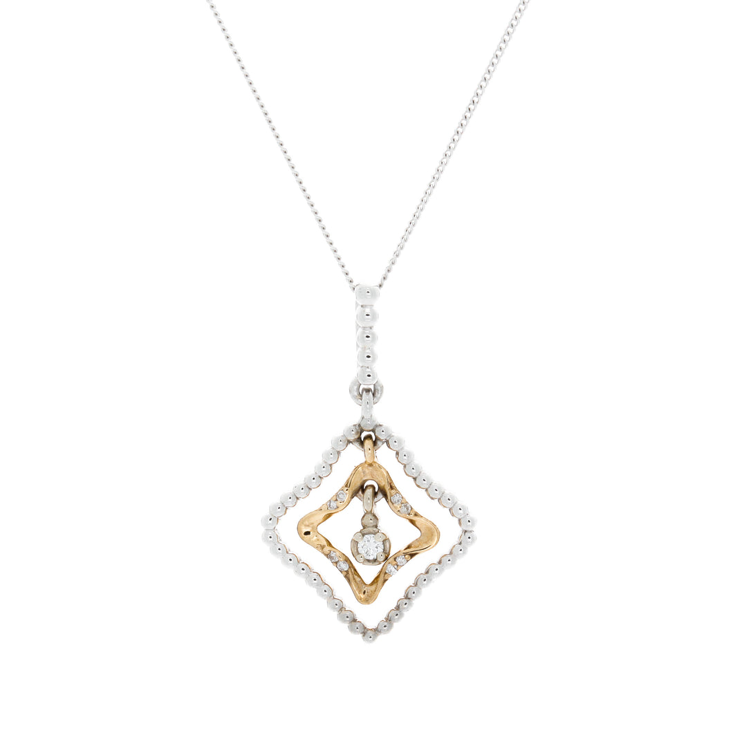 Diamond Two Tone Drop Pendant
