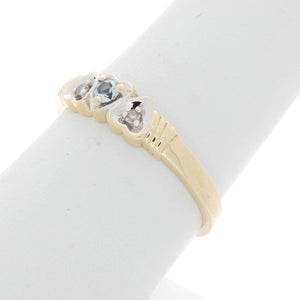 Triple Inversed Heart Diamond Birthstone Ring