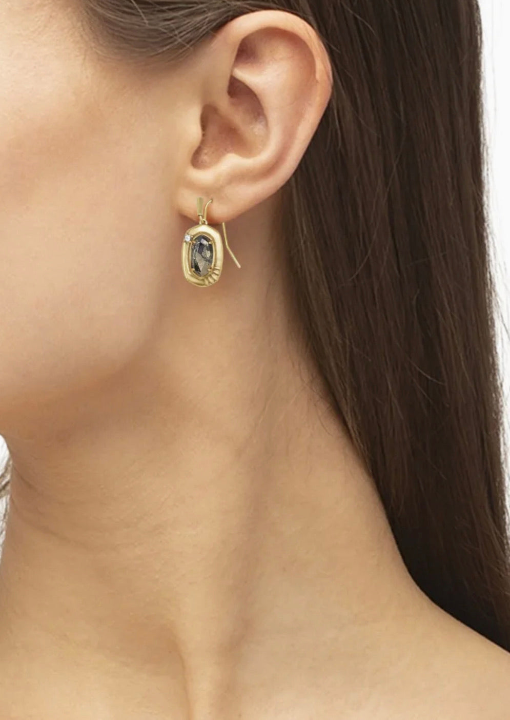 Anna Vintage Gold Small Drop Earrings In Black Pyrite
