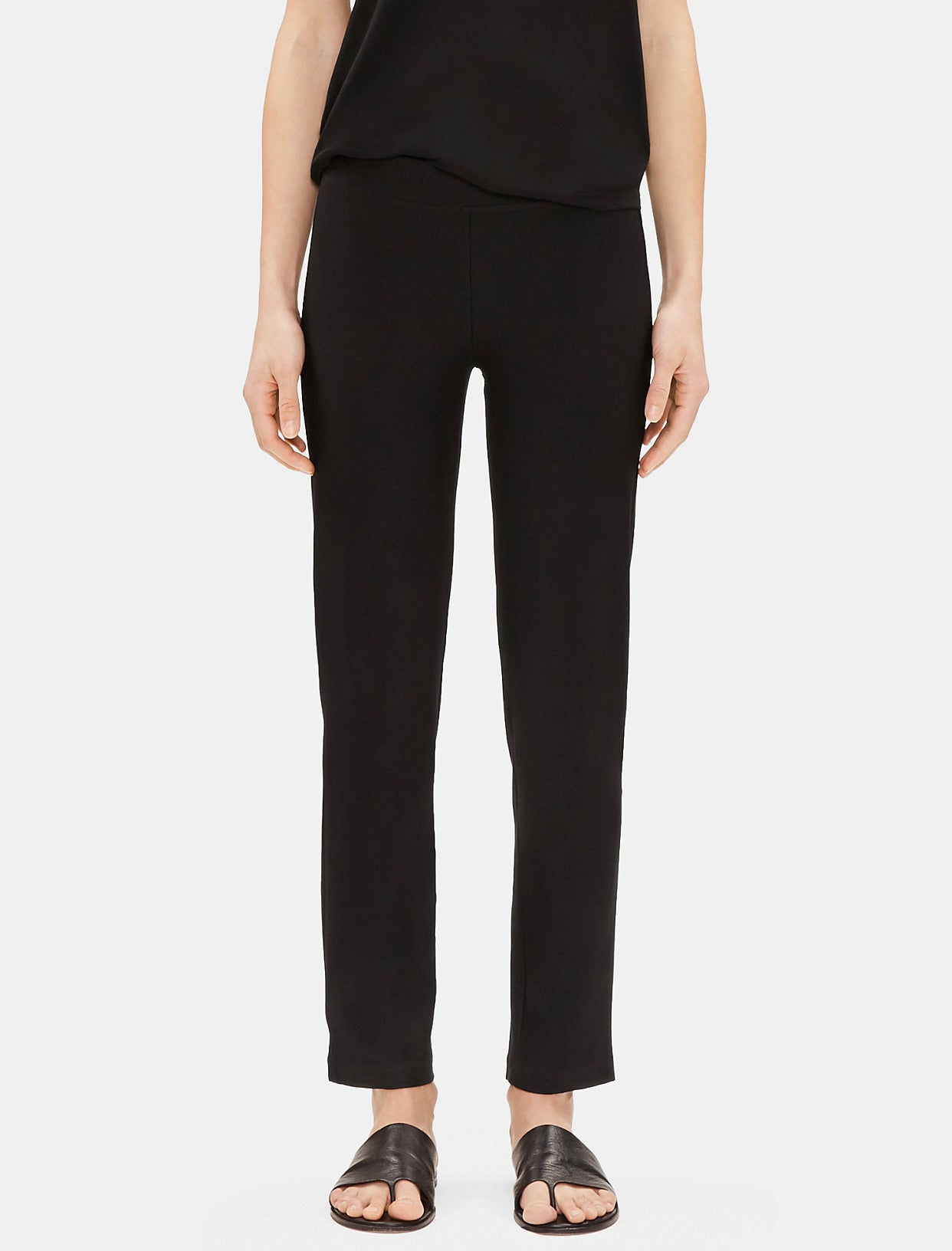 System washable stretch crepe ankle pant