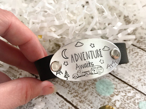 Adventure Awaits Leather Cuff Bracelet
