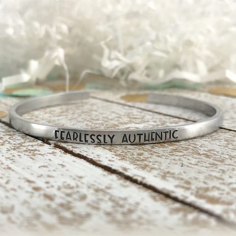 fearlessly authentic--strong woman--inspirational jewelry--birthday gift--friend gift--religious--hand stamped--skinny silver cuff