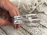 Follow your heart--hand stamped mantra cuff bracelet--customizable--daily reminder--strong woman--skinny silver--be your own person