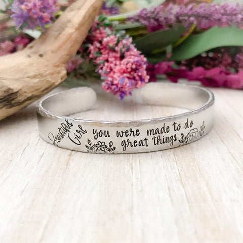Beautiful girl--senior jewelry--Motivational bracelet--encouragement gift--Gift for Her--Hand stamped jewelry--skinny silver cuff--Christmas
