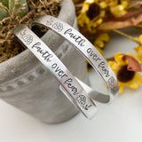 FAITH OVER FEAR bracelet--faith bracelet--Gift for Her--skinny silver mantra bracelet--christmas gift