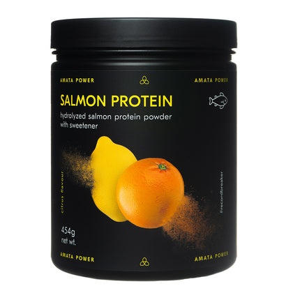 Amata Power salmon protein in citrus flavor. 88% protein content. Fast absorption. Easy on your stomach. Dairy free, paleo, keto friendly. No added sugar. Natural ingredients. Sweetened with stevia. Hydrolyzed protein. Recordbreaker.