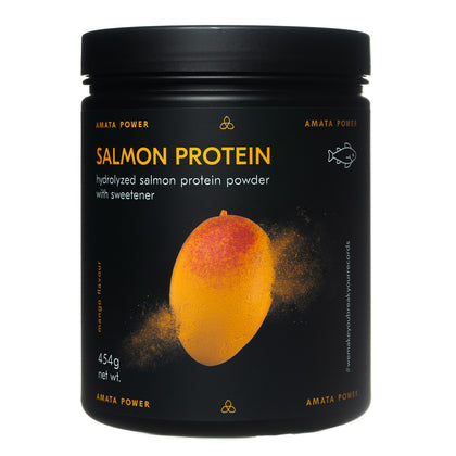 Amata Power salmon protein in mango flavor. 87% protein content. Fast absorption. Easy on your stomach. Dairy free, paleo, keto friendly. No added sugar. Natural ingredients. Sweetened with stevia. Hydrolyzed protein. Recordbreaker.