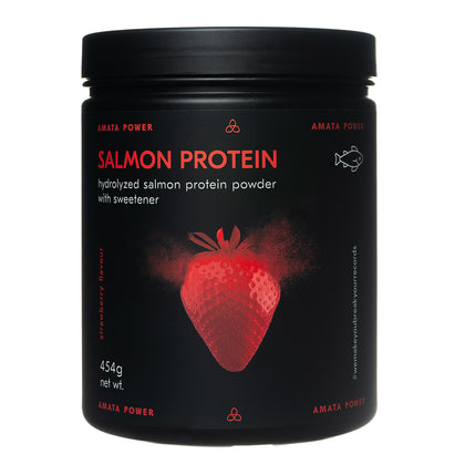 Amata Power salmon protein in strawberry flavor. 87% protein content. Fast absorption. Easy on your stomach. Dairy free, paleo, keto friendly. No added sugar. Natural ingredients. Sweetened with stevia. Hydrolyzed protein. Recordbreaker.