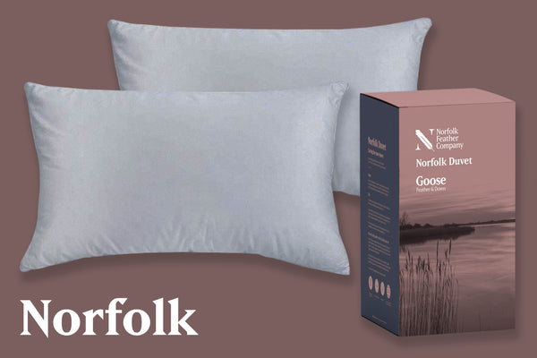 Norfolk | Pillow Pair & Duvet Set | 13.5 Tog, White Duck Feather Pillows and Norfolk Duvet