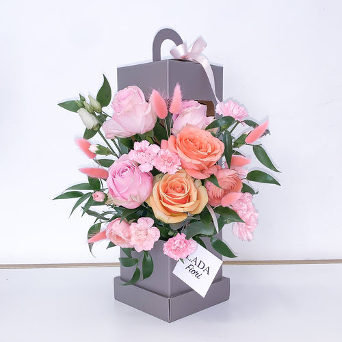 Flower Box Gray Lantern - Peach Heart