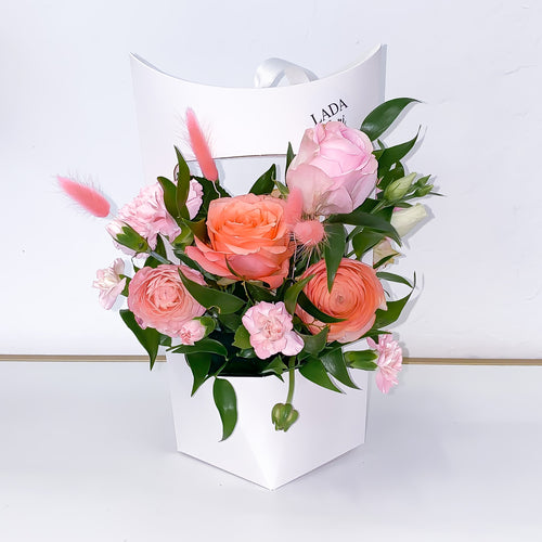 Flower Box White Lantern - Peach Heart