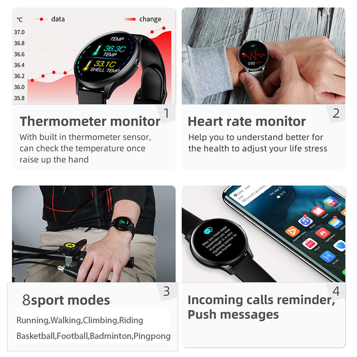 Smartwatch Thermometer Round Full Touchscreen | Aolon