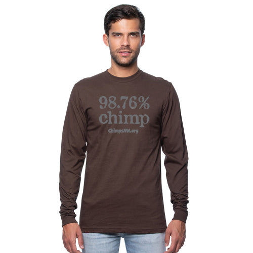 Chimpanzee Sanctuary Northwest long sleeve 98.76% Chimp tee in chocolate brown with grey design