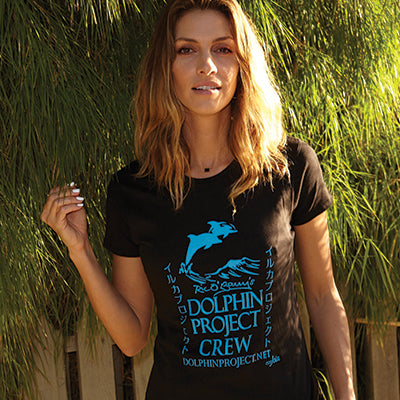 Dolphin Project Crew Black Short Sleeve Ladies Tee