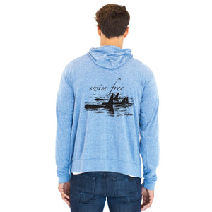 Dolphin Project Swim Free Unisex Eco Royal Blue Lightweight T-shirt Hoodie