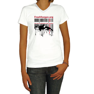 Free Morgan Foundation UPC Code White Ladies V-Neck