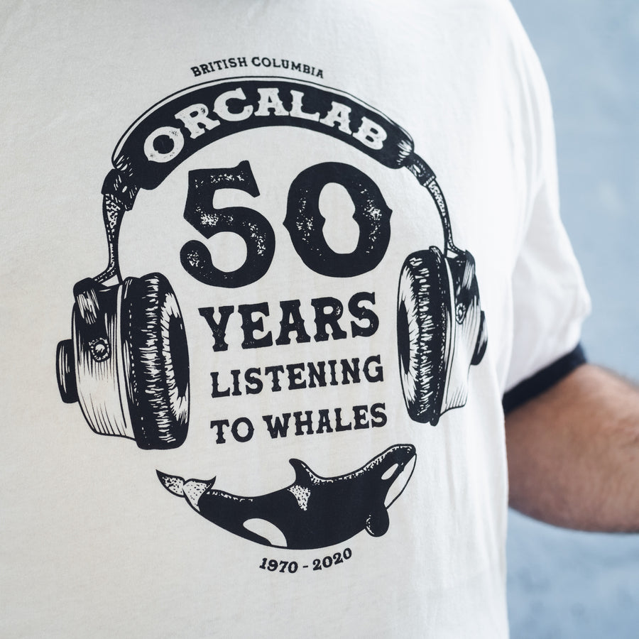 Orcalab 50 Years Listening to Whales Unisex Ringer Tee