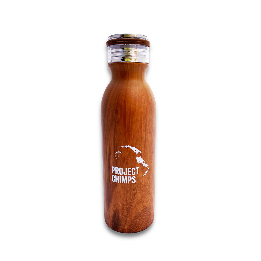 Project Chimps Logo Wood Grain Water Bottle