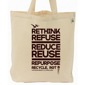 Water Warrior Alliance 7Rs Recycled Cotton Canvas Tote Bag