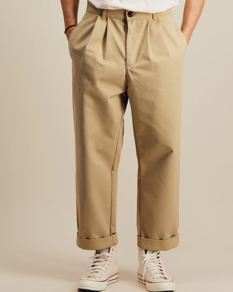 Pantalon Double Pleats beige