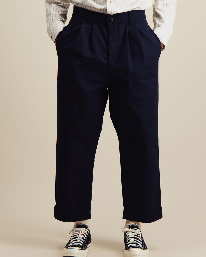 Pantalon Double Pleats marine