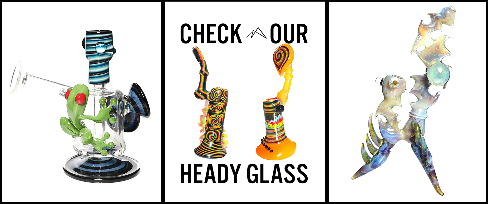 4 different styles of heady pieces. green frog red eyes blue swirl