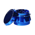 "4pc Chromium Crusher Weed Grinder With Finger Grooves Blue 2 1/2"" in size"