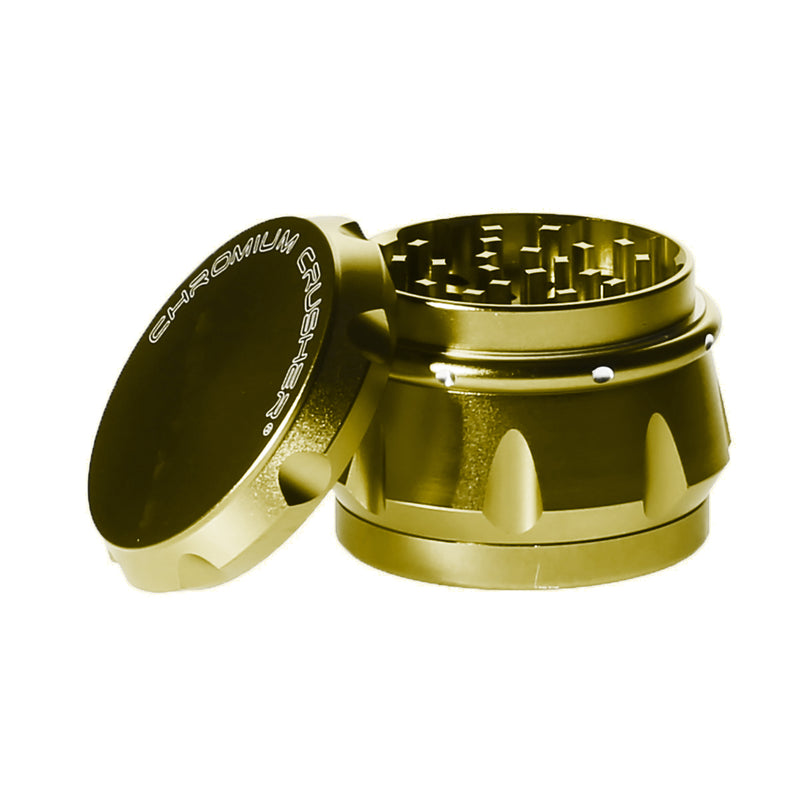 4pc Chromium Crusher Weed Grinder With Finger Grooves Gold